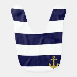 Gold anchor nautical stripes bibs