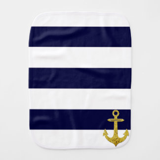 Gold anchor nautical stripes burp cloth
