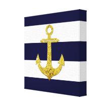 Gold anchor nautical stripes canvas print
