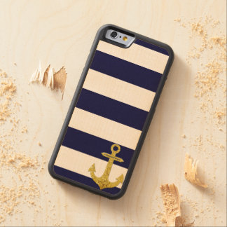 Gold anchor nautical stripes carved maple iPhone 6 bumper case