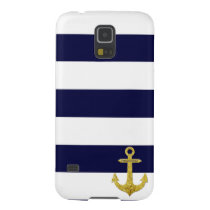 Gold anchor nautical stripes galaxy s5 cover