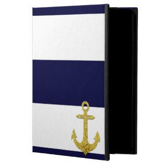 Gold anchor nautical stripes iPad air cover