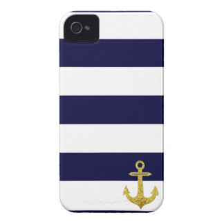 Gold anchor nautical stripes iPhone 4 covers