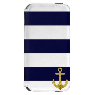 Gold anchor nautical stripes iPhone 6/6s wallet case