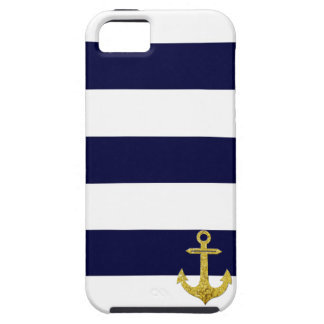 Gold anchor nautical stripes iPhone SE/5/5s case