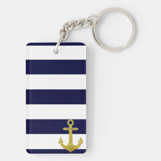 Gold anchor nautical stripes keychain