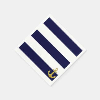 Gold anchor nautical stripes standard cocktail napkin