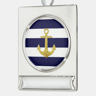 Gold anchor nautical stripes silver plated banner ornament