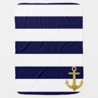 Gold anchor nautical stripes receiving blanket