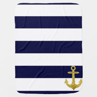 Gold anchor nautical stripes receiving blanket