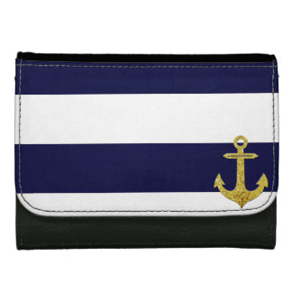Gold anchor nautical stripes wallet for women