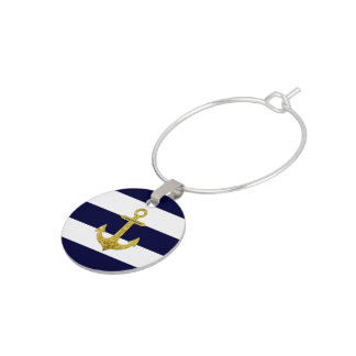 Gold anchor nautical stripes wine charms