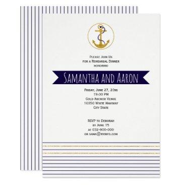 Beach Themed Gold anchor  nautical wedding rehearsal dinner card