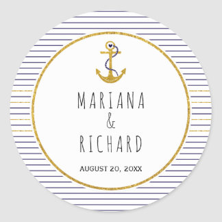 Gold anchor & navy blue stripes nautical wedding classic round sticker