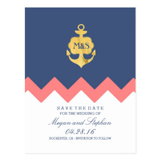 gold anchor navy coral chevron save the date postcard