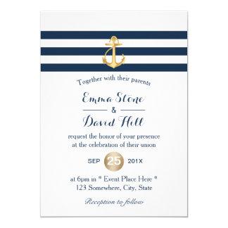 Gold Anchor Navy Stripes Nautical Wedding Card