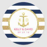 Gold Anchor Navy Stripes Nautical Wedding Favor Classic Round Sticker
