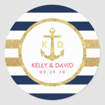 Gold Anchor Navy Stripes Nautical Wedding Favor Classic Round Sticker