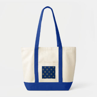 Gold Anchor On Navy Background Canvas Bag