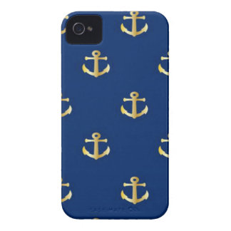 Gold Anchor On Navy Background Case-Mate iPhone 4 Case