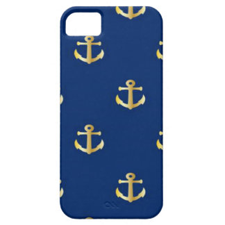 Gold Anchor On Navy Background iPhone 5 Cover