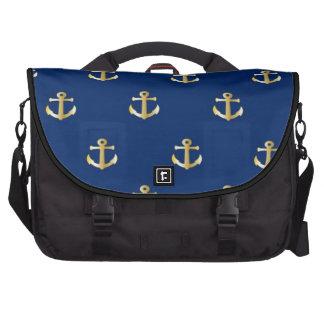 Gold Anchor On Navy Background Computer Bag