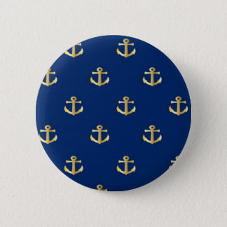 Gold Anchor On Navy Background Pinback Button