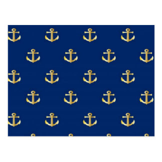 Gold Anchor On Navy Background Postcard