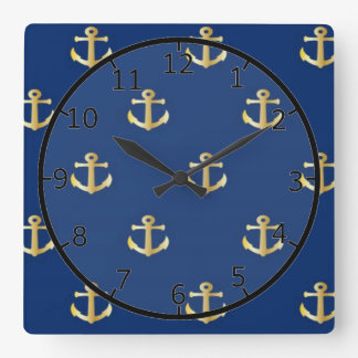 Gold Anchor On Navy Background Square Wall Clock