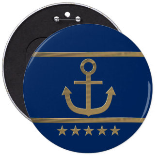 gold anchor on navy blue background button