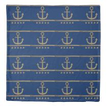 gold anchor on navy blue background duvet cover