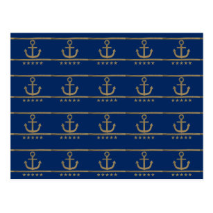 Gold Anchor On Navy Blue Background Postcard