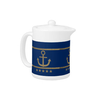 gold anchor on navy blue background teapot