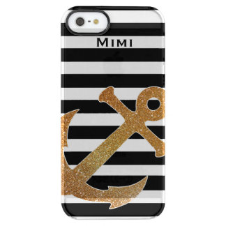 Gold Anchor on Stripes Clear iPhone 5S Case