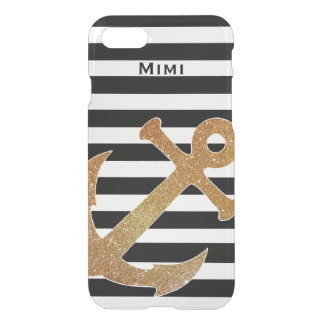 Gold Anchor on Stripes Clear iPhone 7 Case