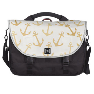 Gold anchor pattern,on white,marine,chic,preppy, laptop messenger bag
