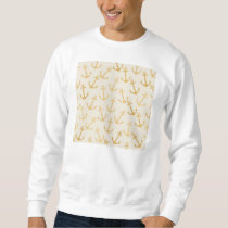 Gold anchor pattern,on white,marine,chic,preppy, sweatshirt