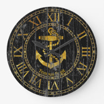 Gold Anchor Personalize Large Clock