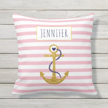 Beach Themed Gold  anchor pink striped pattern trendy nautical throw pillow