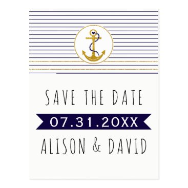 Beach Themed Gold anchor striped nautical wedding Save the Date Postcard