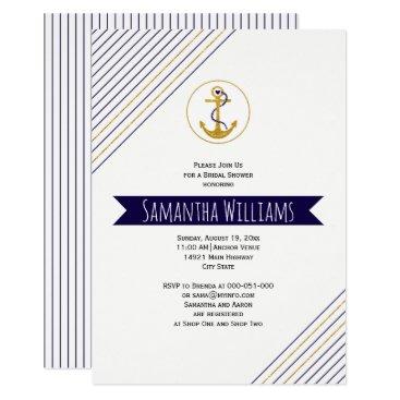 Beach Themed Gold anchor stripes nautical wedding bridal shower card
