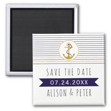Beach Themed Gold anchor stripes nautical wedding Save the Date Magnet
