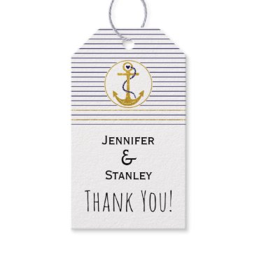 Beach Themed Gold anchor stripes nautical wedding Thank You Gift Tags