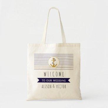 Beach Themed Gold anchor stripes nautical wedding welcome bag