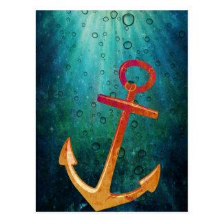 Gold Anchors Away Nautical Postcard