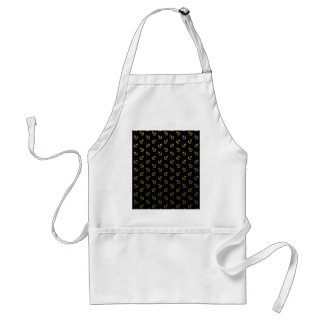 Gold Anchors Black Background Pattern Adult Apron