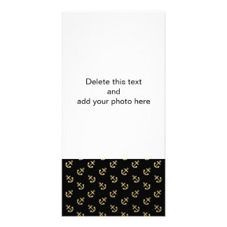 Gold Anchors Black Background Pattern Card