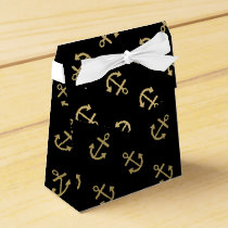 Gold Anchors Black Background Pattern Favor Box