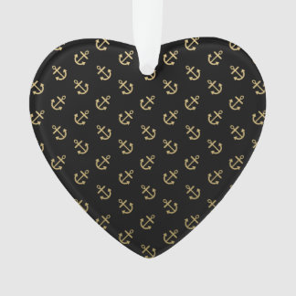 Gold Anchors Black Background Pattern Ornament