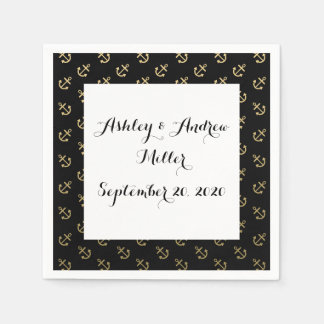 Gold Anchors Black Background Pattern Disposable Napkins